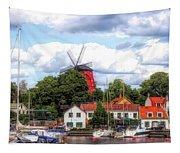 Windmill In Strangnas Sweden Tapestry