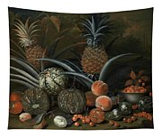 Strawberries In A Porcelain Bowl With Pineapples Melons Peaches And Figs Before A Tropical Landscape Tapestry