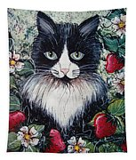Strawberry Lover Cat Tapestry