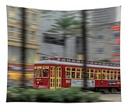 Street Car Flying Down Canal Tapestry