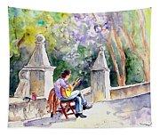 Street Musician In Pollenca Tapestry