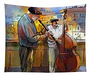Street Musicians In Prague In The Czech Republic 01 Tapestry
