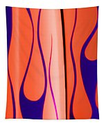 Street Rod Design In Orange And Blue Tapestry