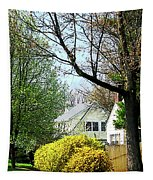 Street With Forsythia Tapestry