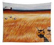 Stressie Cat And Crows In The Hay Fields Tapestry