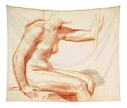 Study Of A Female Nude Seated Tapestry