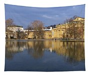 Stuttgart State Theater Beautiful Reflection In Blue Water Tapestry