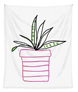 Succulent In A Pink Pot- Art By Linda Woods Tapestry