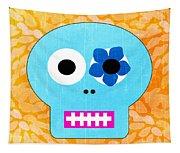 Sugar Skull Blue And Orange Tapestry