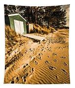 Summer Beach Shacks Tapestry