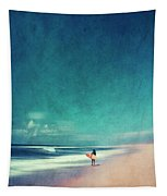 Summer Days - Abstract Seascape With Surfer Tapestry