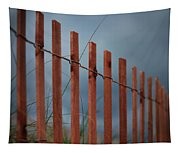 Summer Storm Beach Fence Tapestry