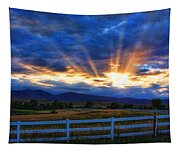 Sun Beams In The Sky At Sunset Tapestry
