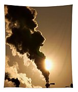 Sun Covered With Soot - Air Pollution Tapestry