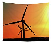 Sun Glare Upon Alberta Windfarm Tapestry