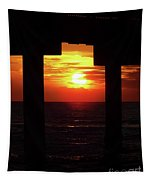 Sun Setting At The Pier Tapestry