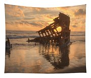 Sun Setting Behind Peter Iredale 0089 Tapestry