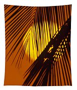 Sun Shining Through Palms Tapestry