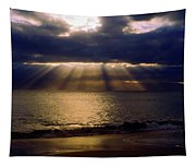 Sunbeams Radiating Through Clouds Before Sunset Tapestry