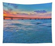 Sundown At Mackinac Bridge Tapestry