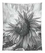 Sunflower Dawn Black And White Drawing Tapestry