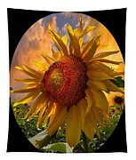 Sunflower Dawn In Oval Tapestry