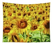 Sunflower Edges Tapestry