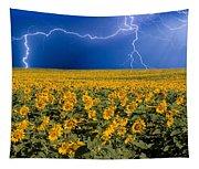 Sunflower Lightning Field  Tapestry