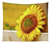 Sunflower On The Fence Tapestry