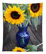 Sunflowers And Blue Vase - Still Life Tapestry