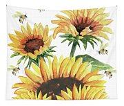 Sunflowers And Honey Bees Tapestry