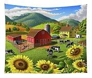 Sunflowers Cows Appalachian Farm Landscape - Rural Americana - Farm Animals - 1950 Farm Life - Barn Tapestry