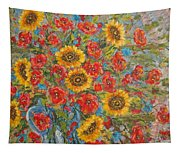 Sunflowers In Blue Pitcher. Tapestry