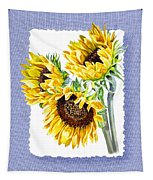 Sunflowers On Baby Blue Tapestry