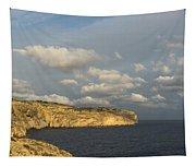 Sunlit Limestone Cliffs In Malta Tapestry