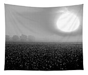 Sunrise And The Cotton Field Bw Tapestry
