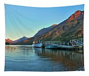 Sunrise At The Two Medicine Dock Tapestry