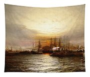 Sunrise From Chapman Dock And Old Brooklyn Navy Yard, East River, New York Tapestry