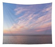 Sunrise Moonset - Feathery Clouds And Crescent Moon Over Water Tapestry