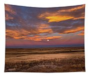Sunrise On The Plains - Moon Over Prairie In Eastern Colorado Tapestry