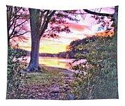 Sunrise Over A Misty Pond Tapestry
