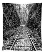 Sunrise Rails Black And White Vertical Panorama Tapestry