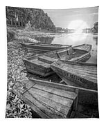 Sunrise Rowboats  In Black And White Tapestry