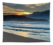 Sunrise Seascape With Headland And Clouds Tapestry