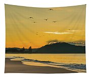 Sunrise Seascape With Mountain And Birds Tapestry