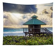 Sunrise Tower At The Beach Tapestry