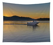 Sunrise Waterscape And Boat On The Bay Tapestry