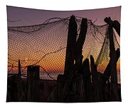 Sunset And Fishing Net Cape May New Jersey Tapestry