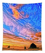 Sunset At Cannon Beach Tapestry