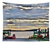 Sunset At Coastal Kayak Tapestry
